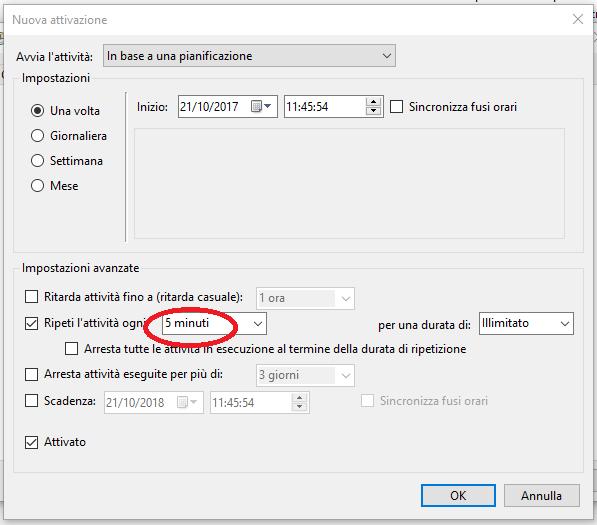 Setup timing for Http monitoring tool