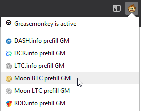 Greasemonkey menu