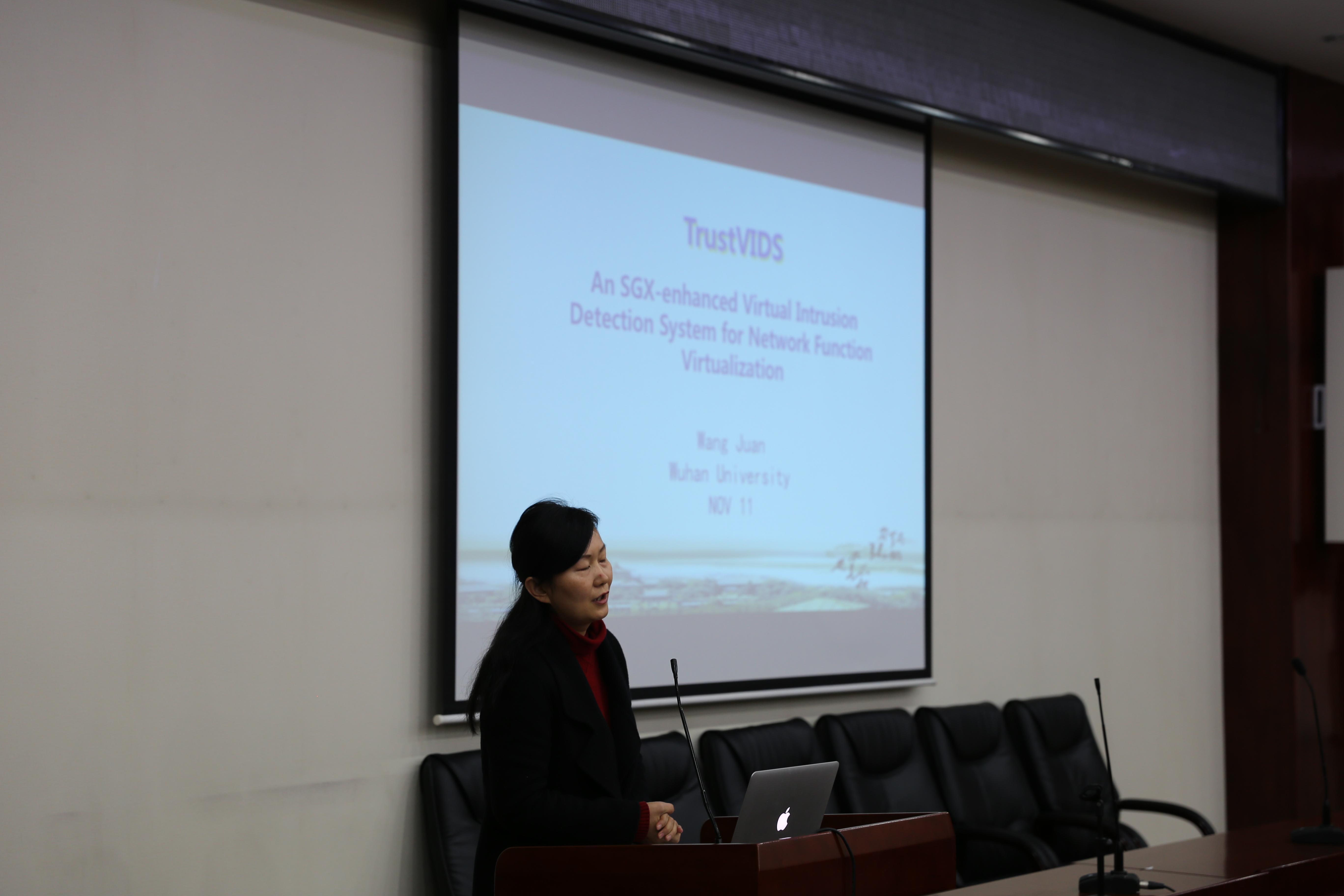 武汉大学王鹃副教授作主题为《基于 SGX 的虚拟入侵检测系统安全增强》的报告