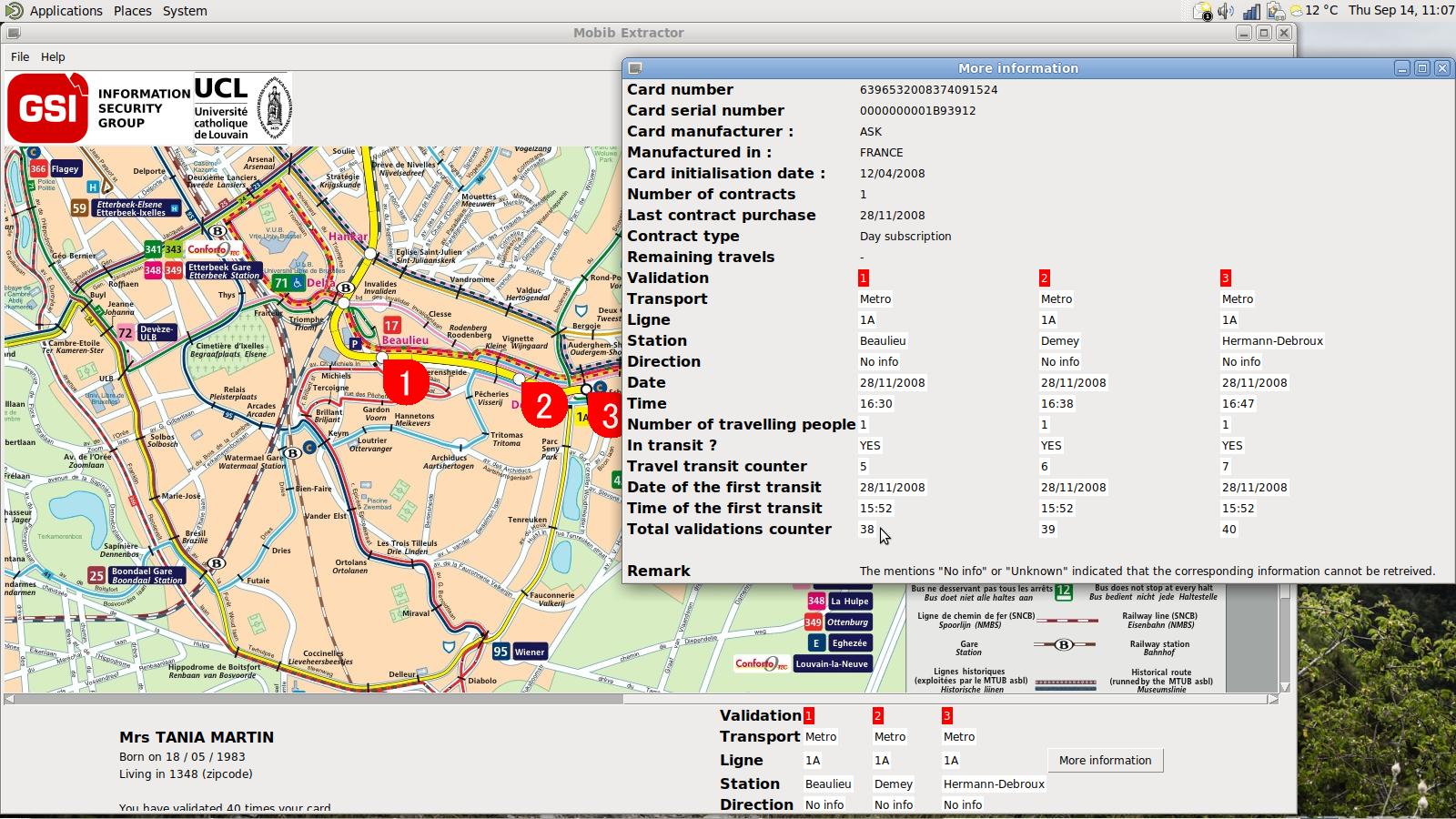 MOBIB Extractor screenshot