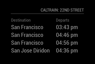 departure times preview
