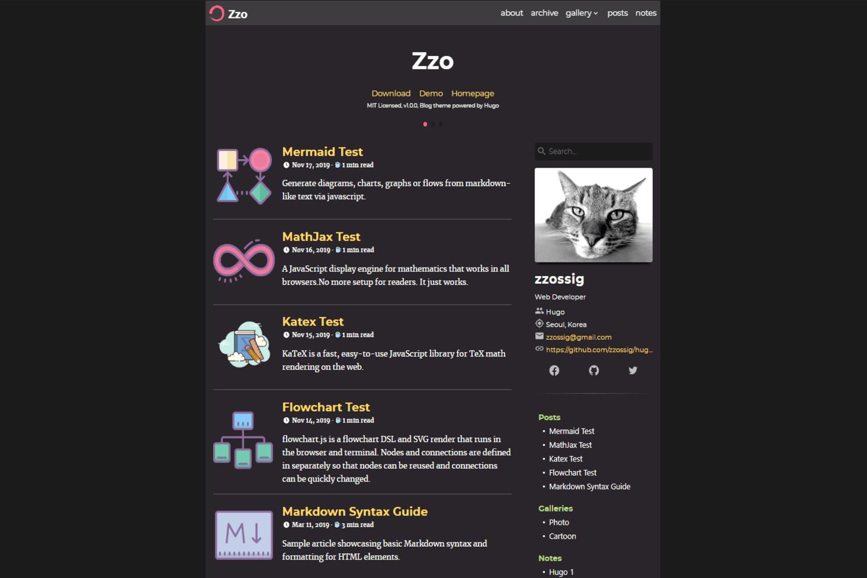 Hugo Theme Zzo Screenshot