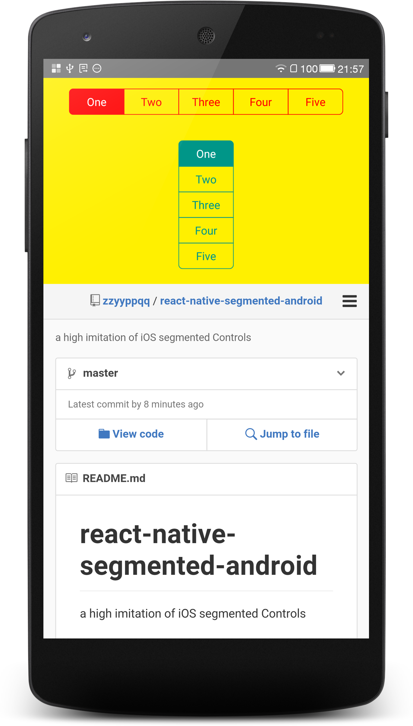 look segmented android example