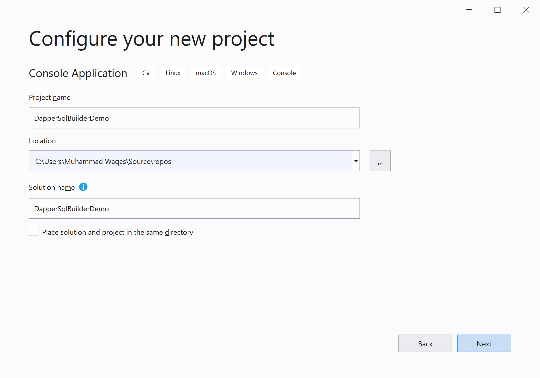 Configure your new project