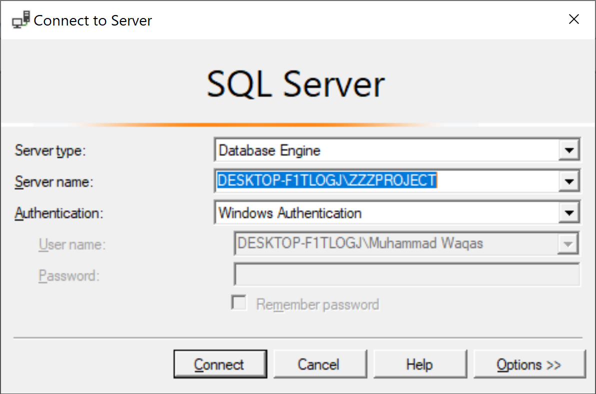 Connect to Server dialog