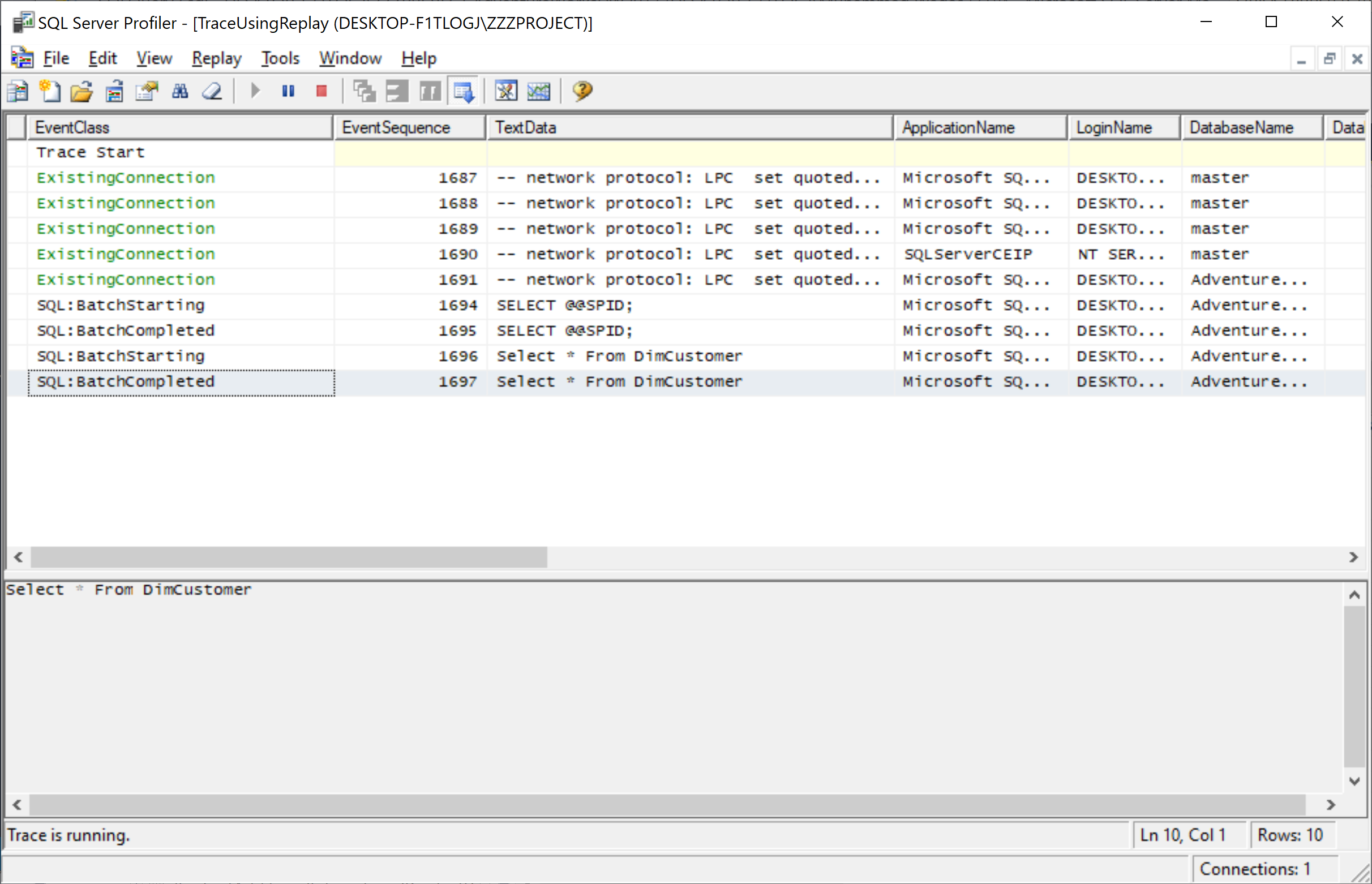 Tracing the database after executed a query