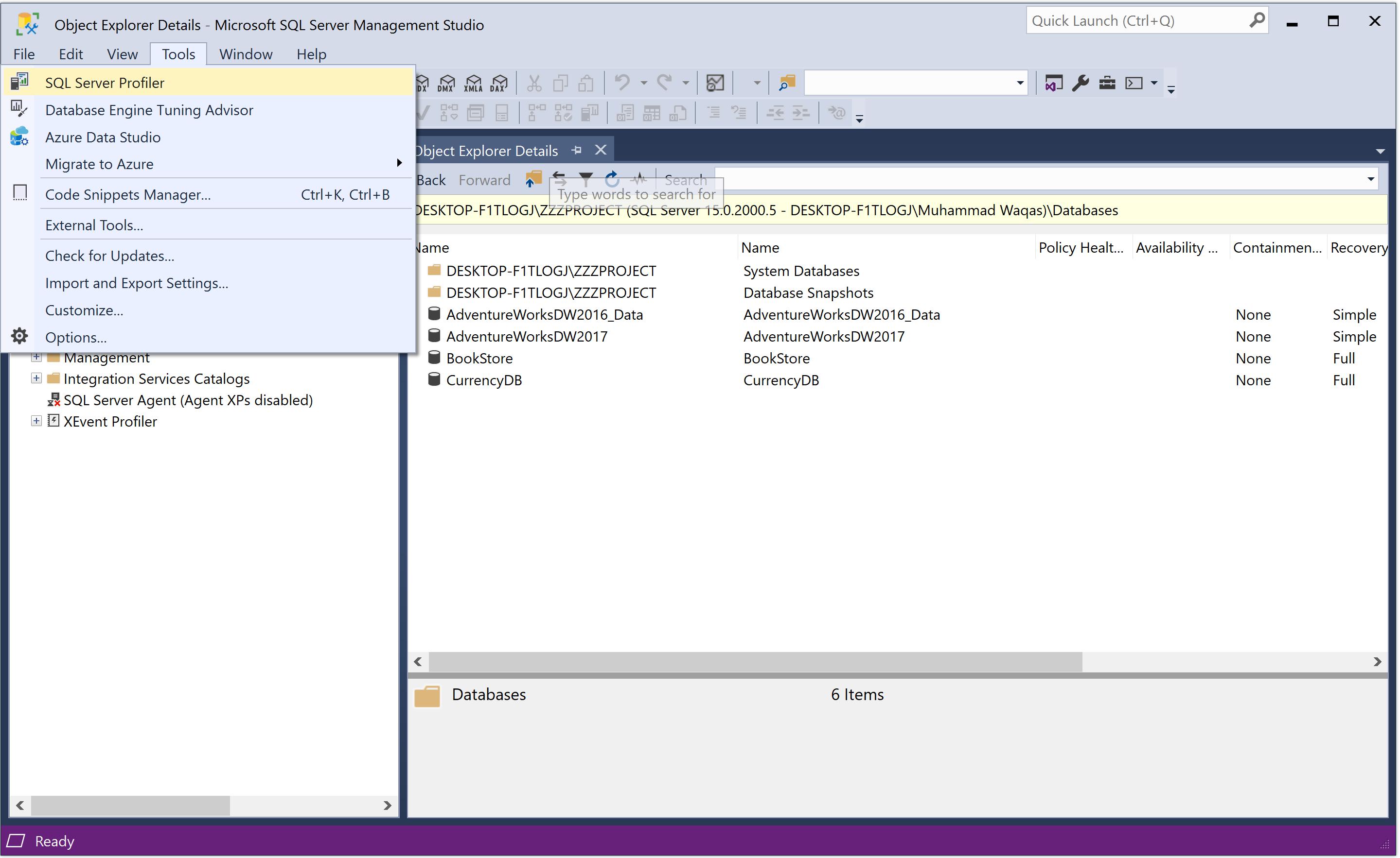 Launch SQL Server Profiler from SSMS