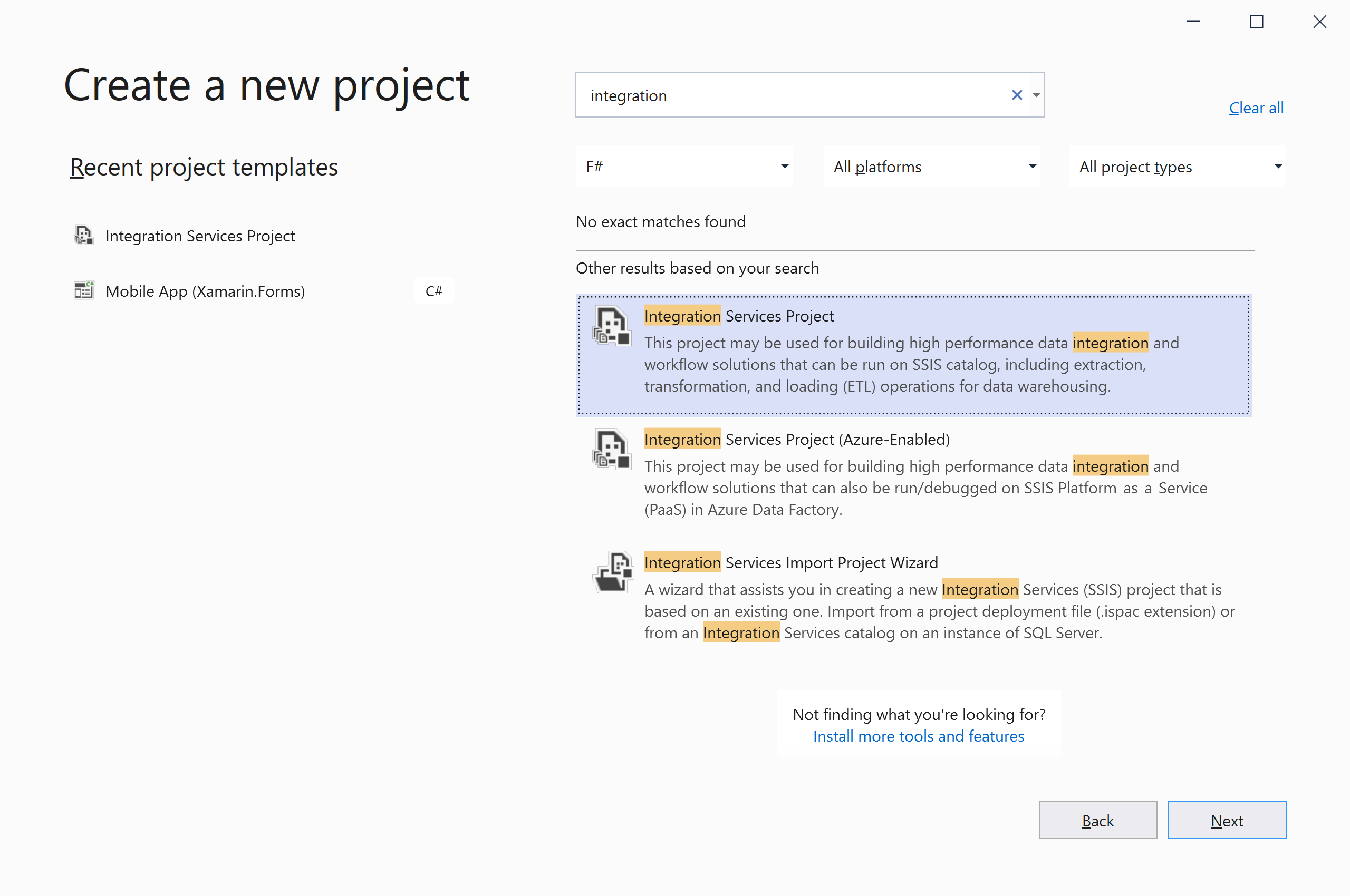 Choose Integration Services Project template