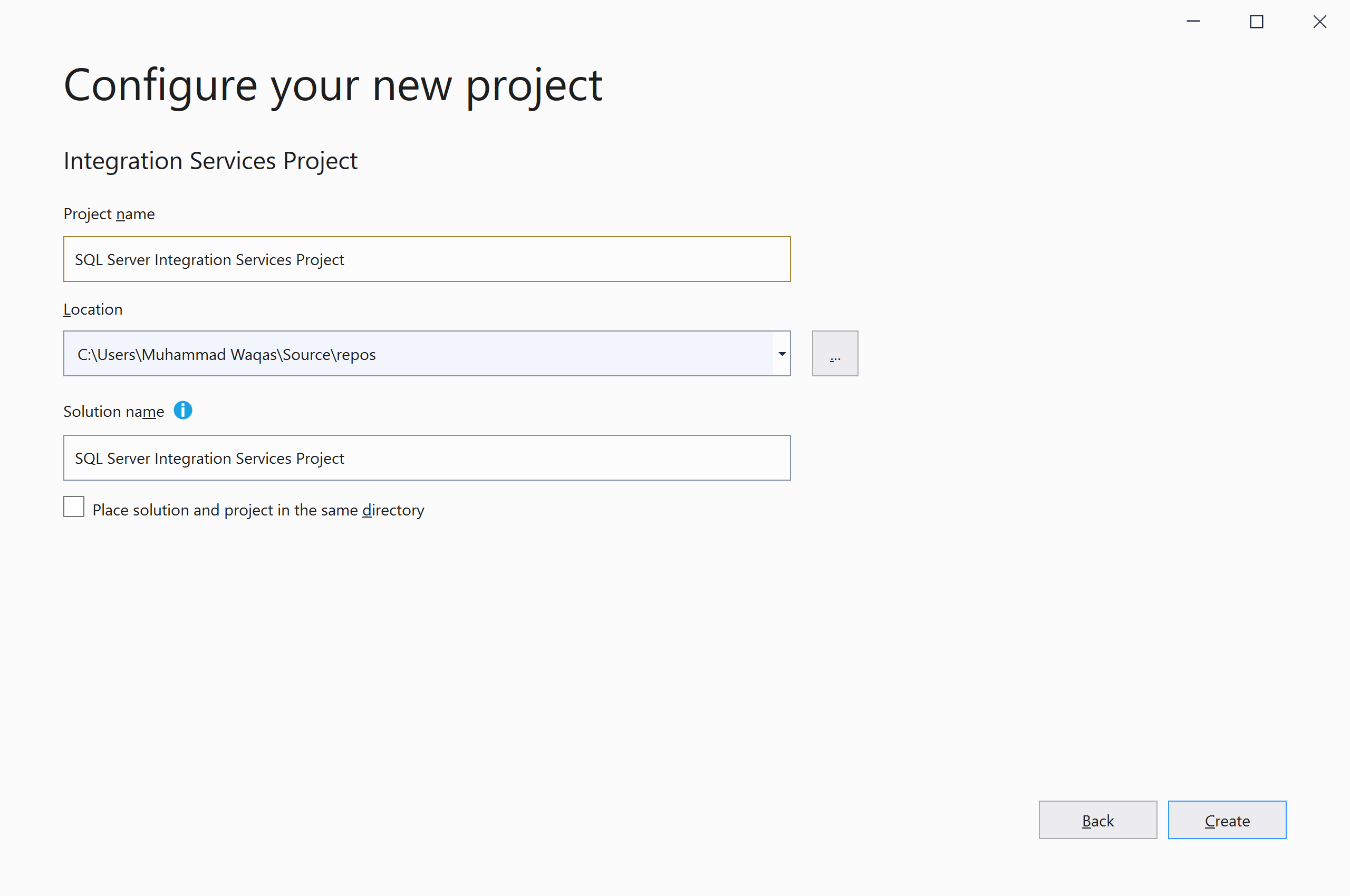 Type a project name