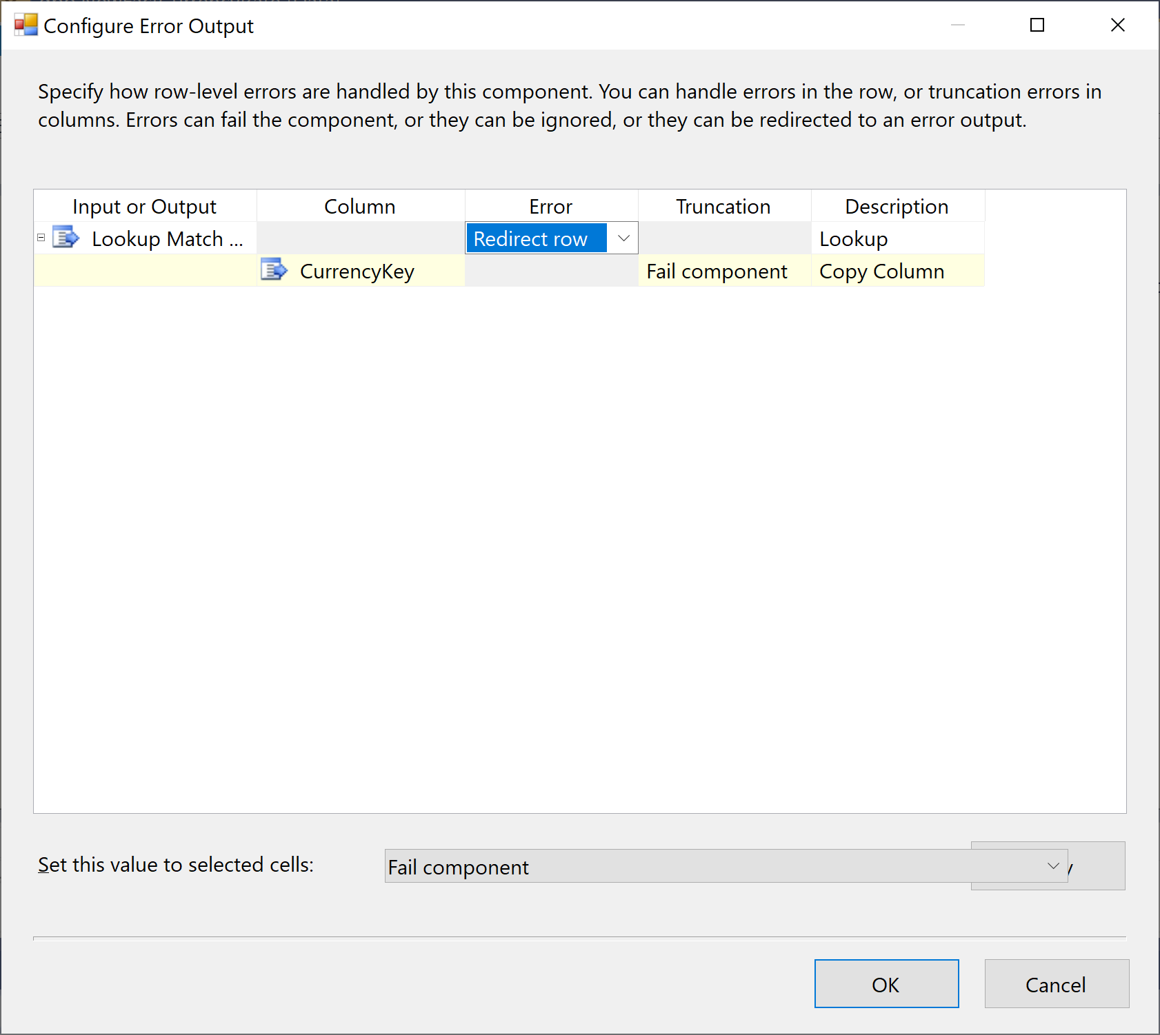 Configure Error Output dialog