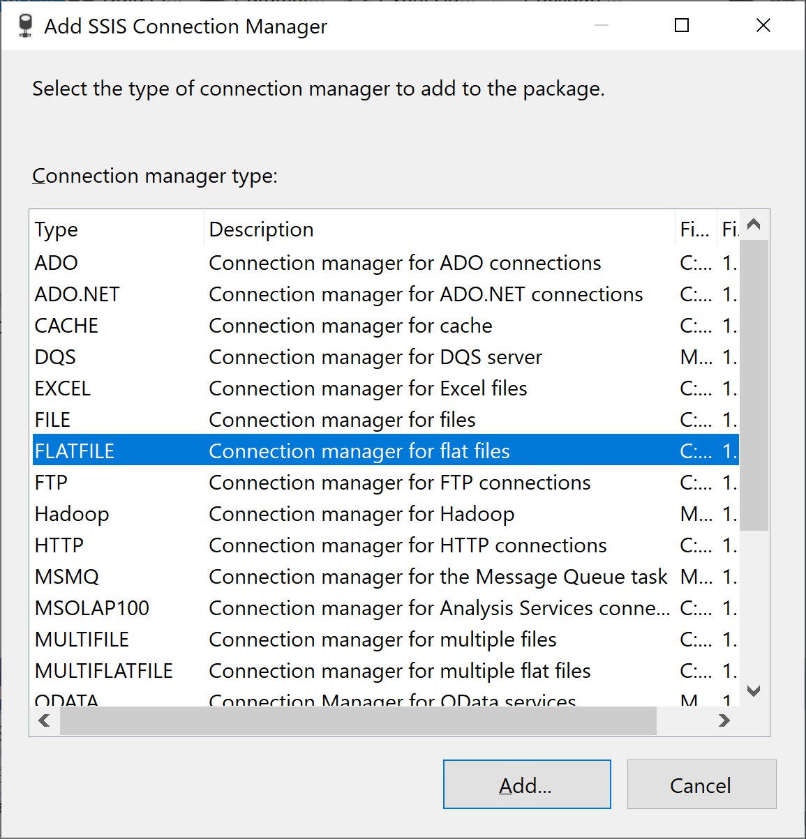 Add SSIS Connection Manager