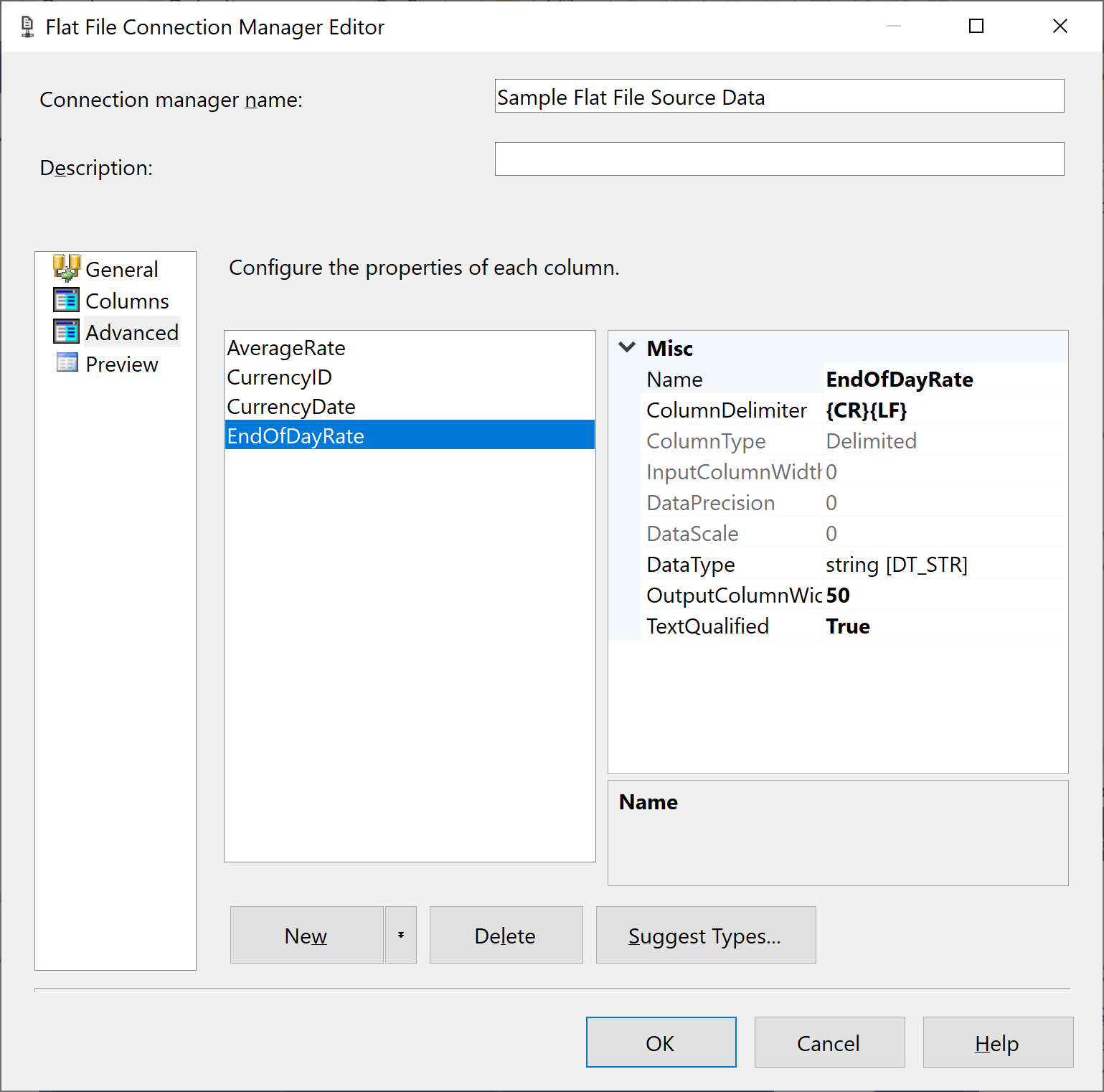 Flat File Connection Manager Editor - Advanced tab column names changed