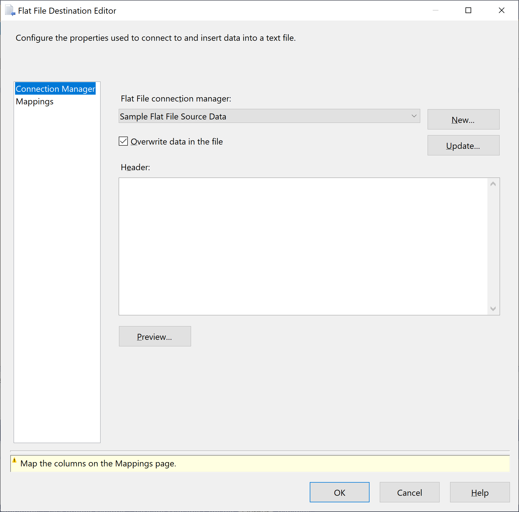 Flat File Destination Editor