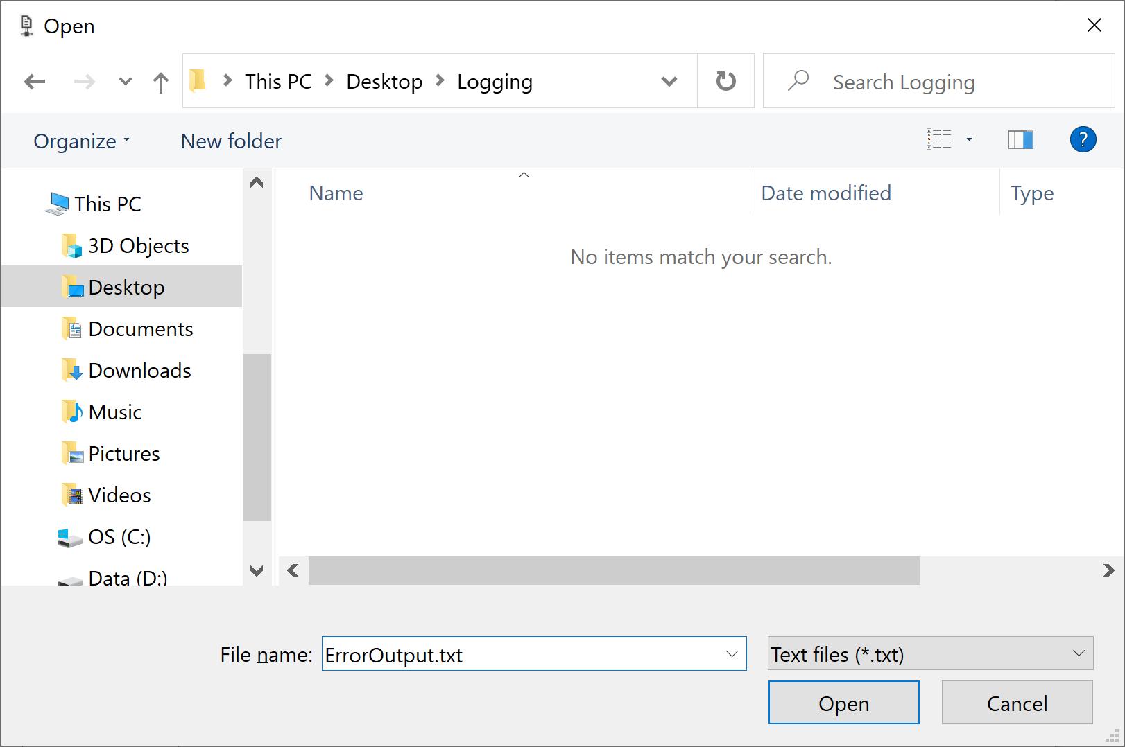 Open File dialog