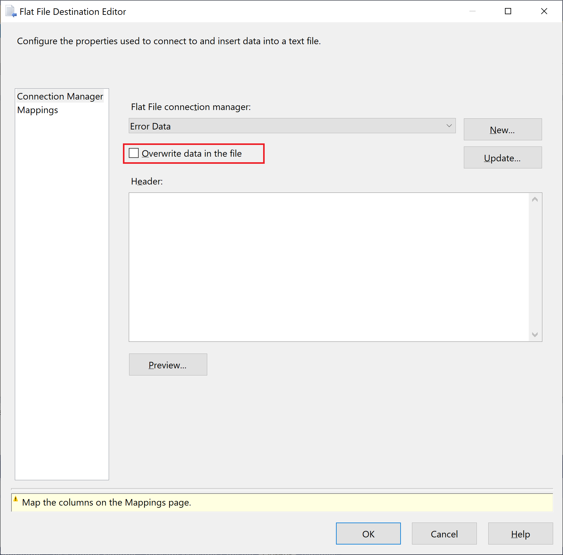 Clear Overwrite data in the file checkbox