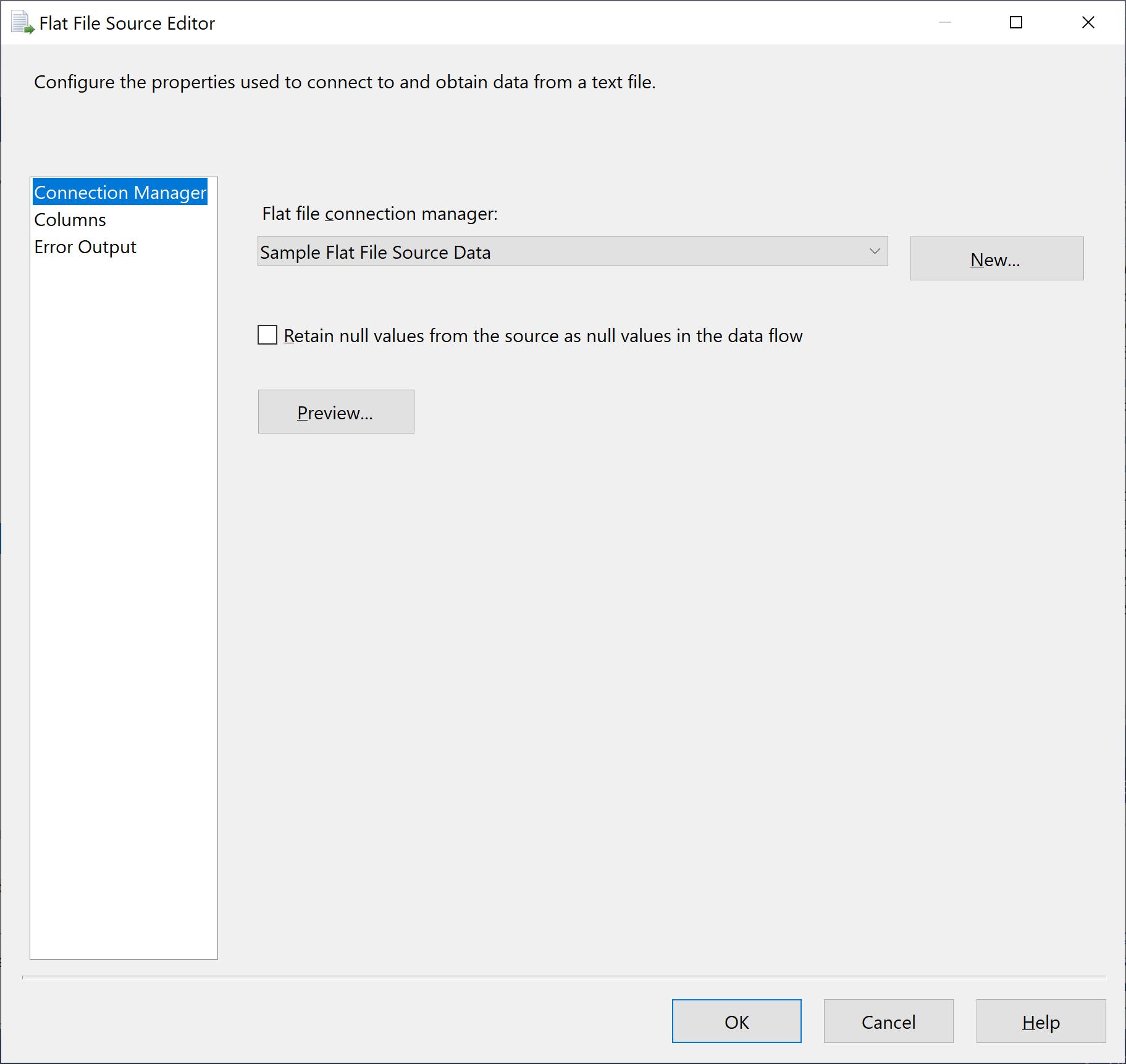 Sample Flat File Source Data