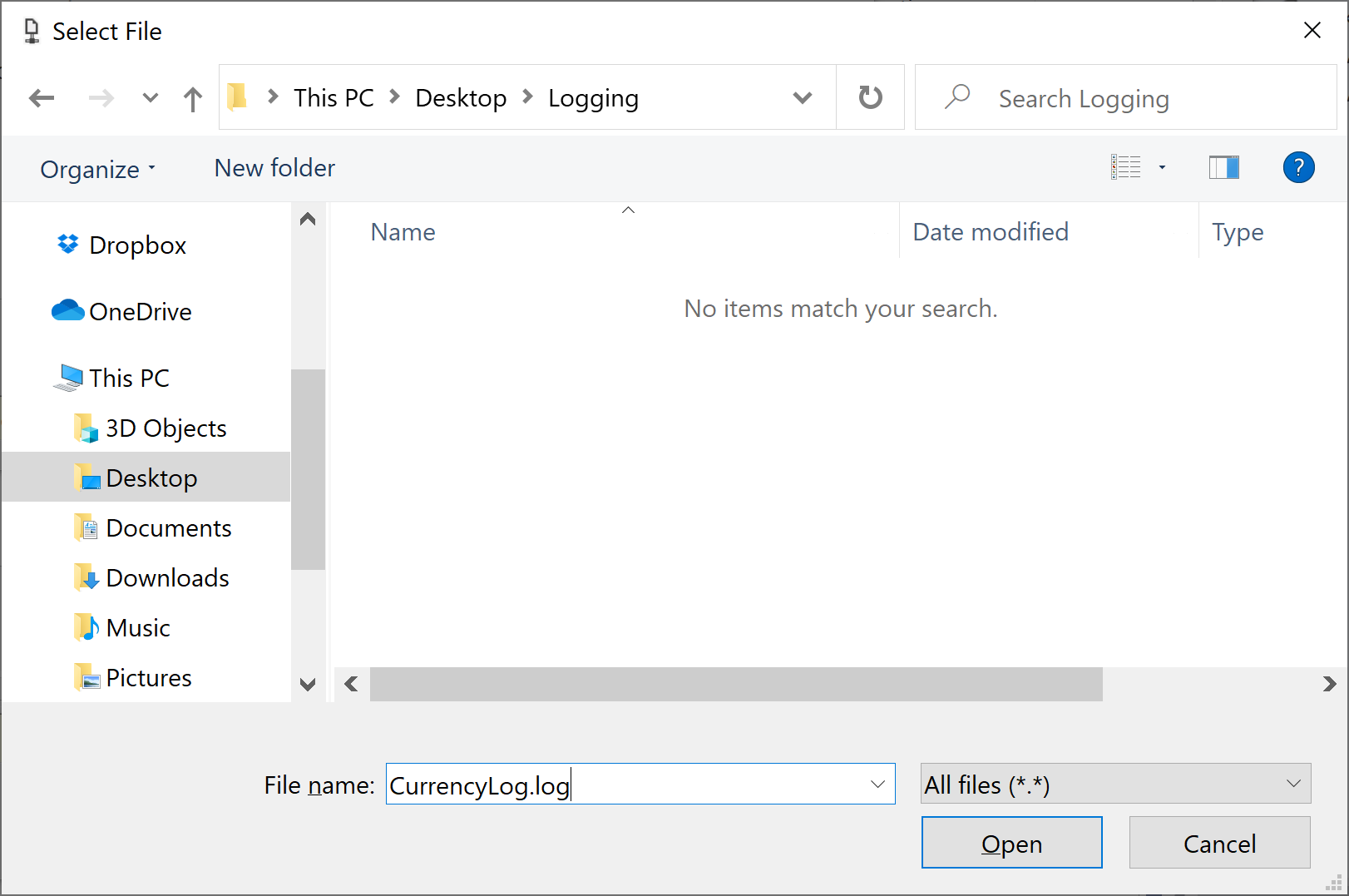 Select log file