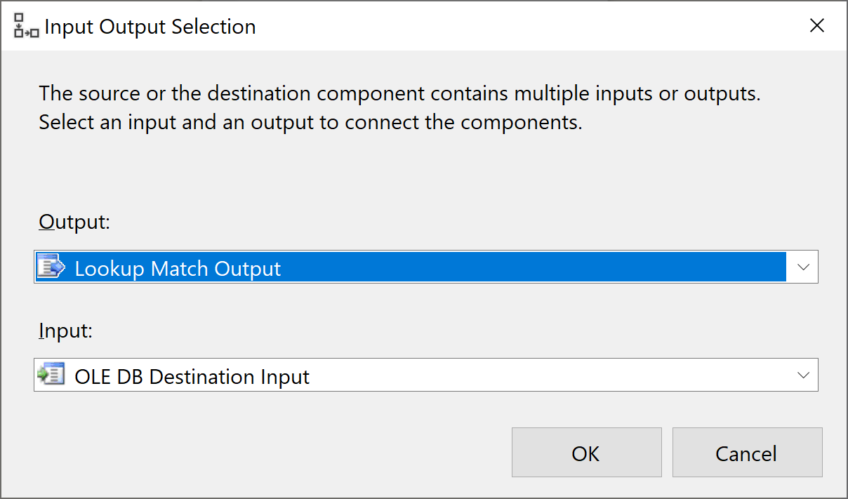 Input Output Selection dialog