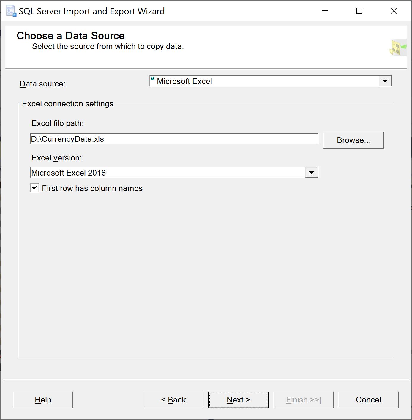 SQL Server Import Export Wizard