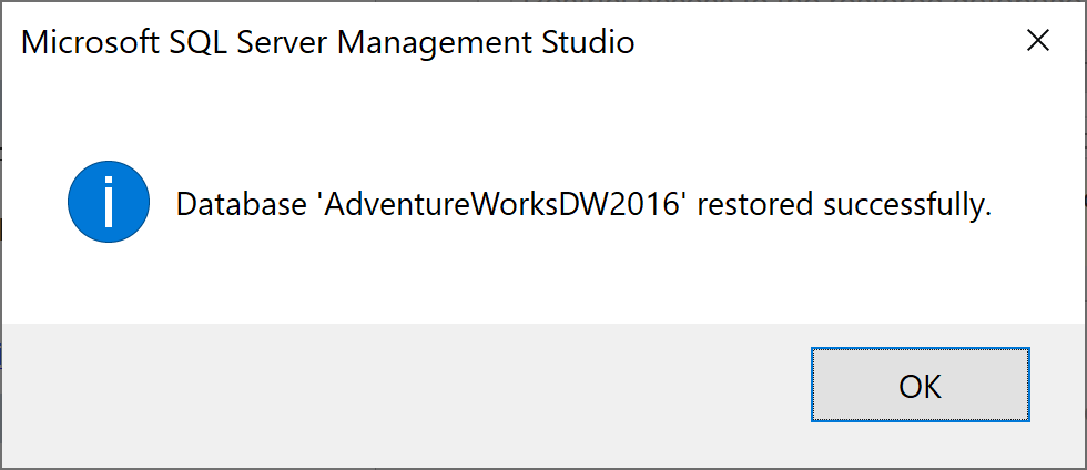 Restore completed successfully