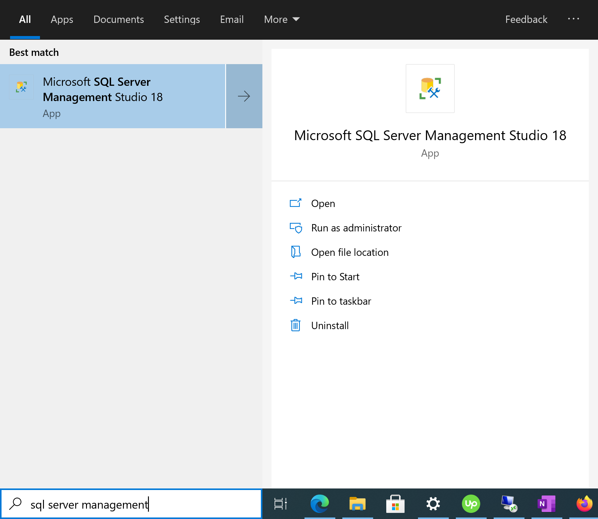 Search SSMS on start menu