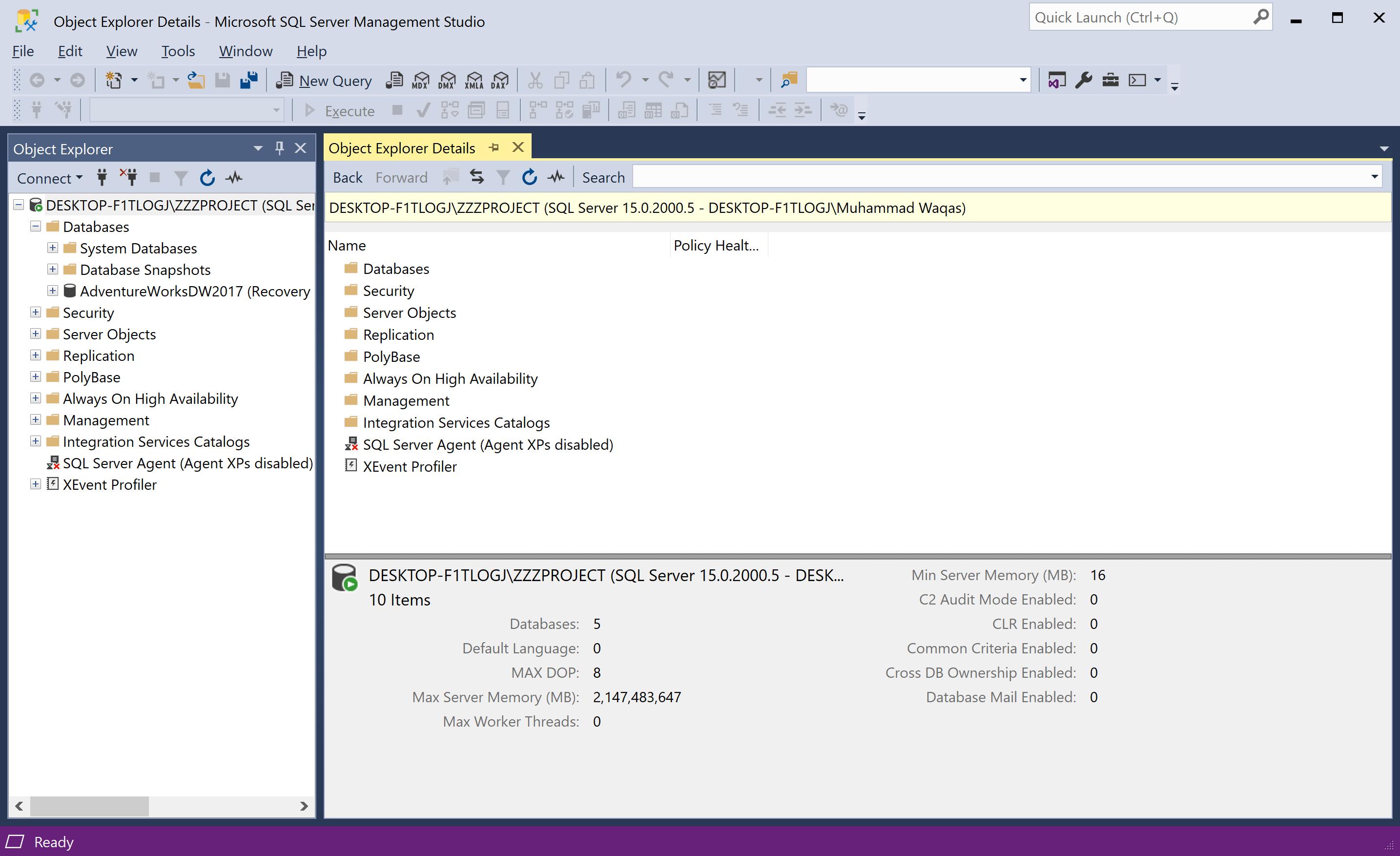Object Explorer Details pane
